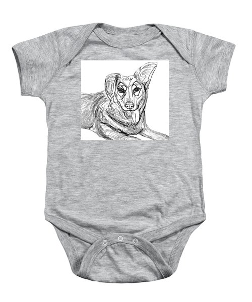 Dog Sketch In Charcoal 1 Baby Onesie