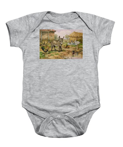 Donkey And Farmyard Fowl  Baby Onesie by Carl Donner