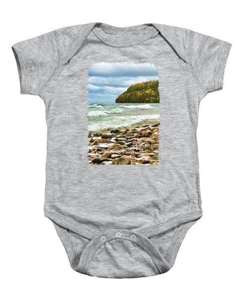 Door County Porcupine Bay Waves Baby Onesie by Christopher Arndt