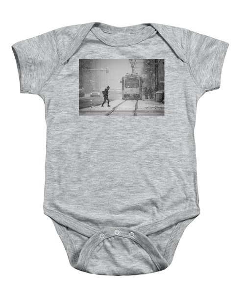 Downtown Snow Storm Baby Onesie