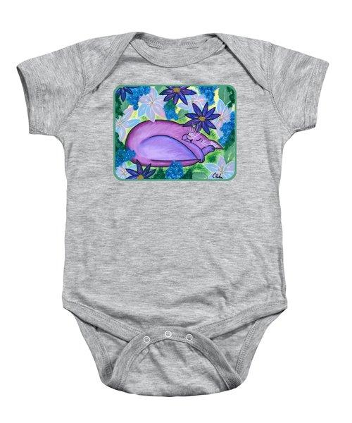 Dreaming Sleeping Purple Cat Baby Onesie