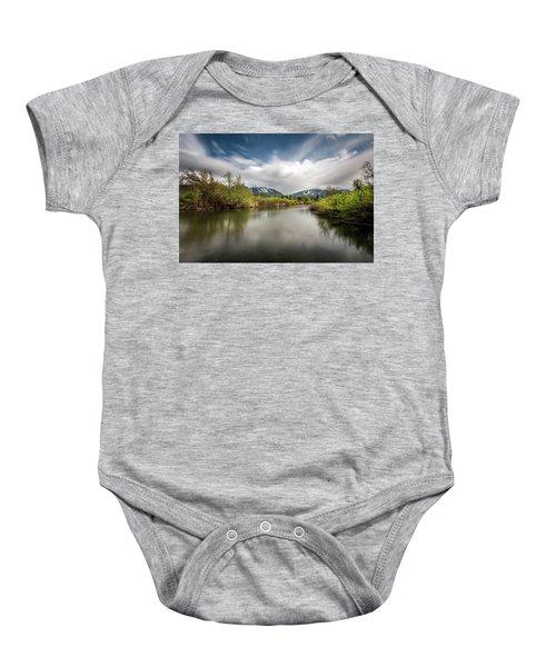 Dreamy River Of Golden Dreams Baby Onesie