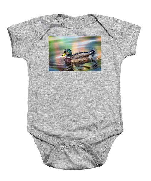 Duck In Water With Autumn Colors Baby Onesie