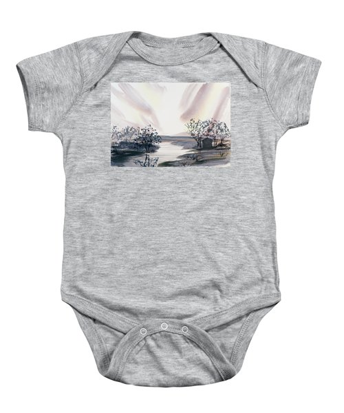 Dusk Creeping Up The River Baby Onesie