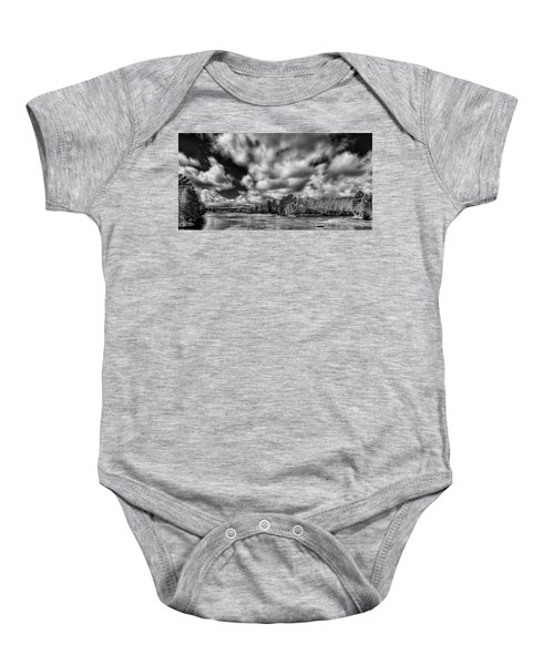 Baby Onesie featuring the photograph Dusting Of Snow On The River by David Patterson