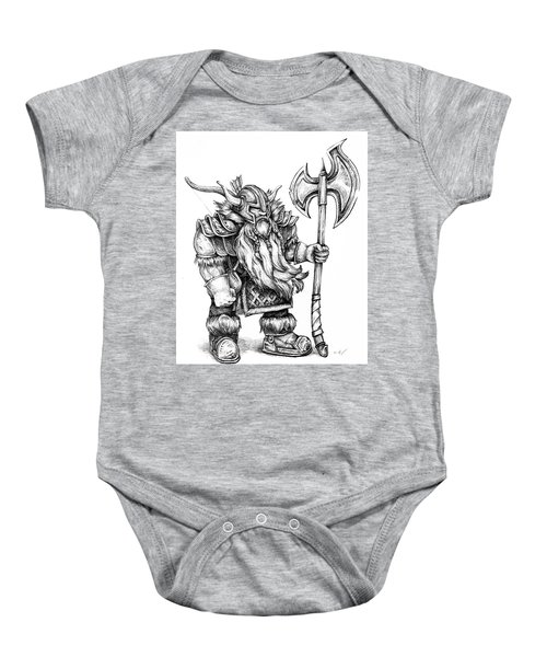 Baby Onesie featuring the drawing Dwarf by Aaron Spong