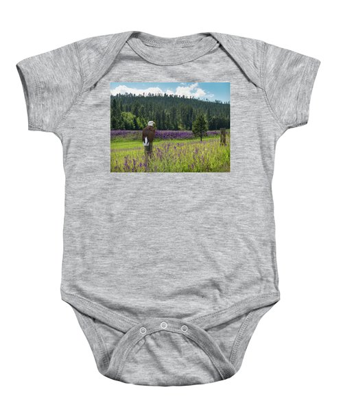 Eagle On Fence Post Baby Onesie