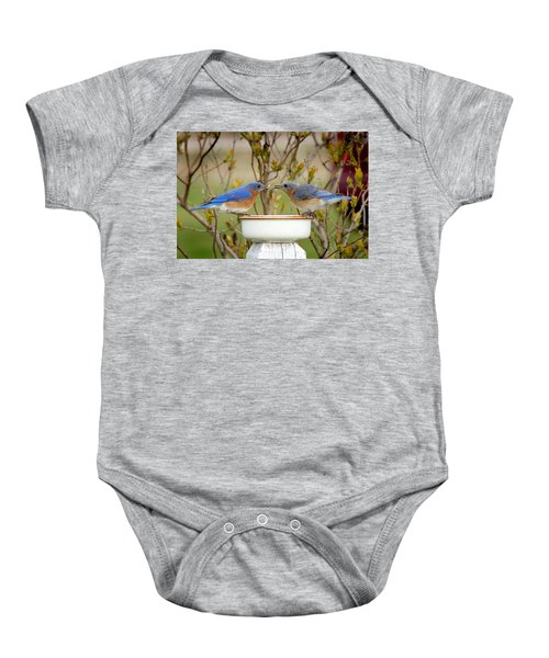 Early Bird Breakfast For Two Baby Onesie by Bill Pevlor