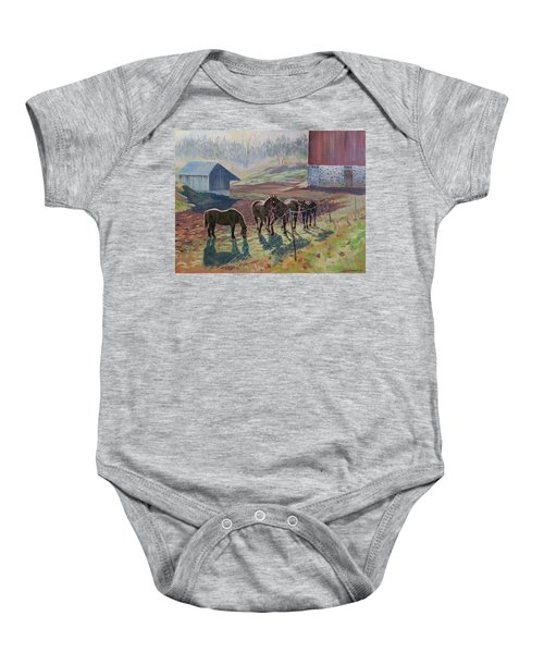 Early December At The Farm Baby Onesie