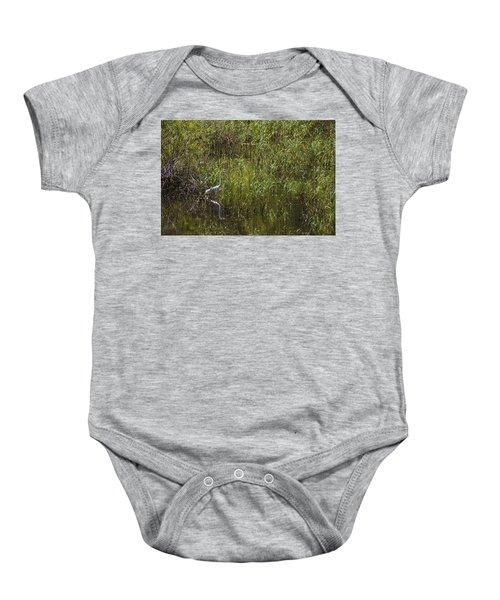 Egret Hunting In Reeds Baby Onesie