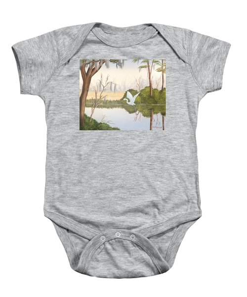 Egret In Flight 1 Baby Onesie