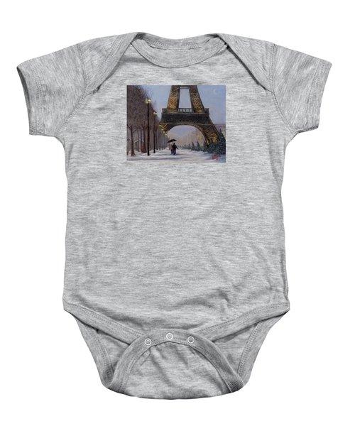 Eiffel Tower In The Snow Baby Onesie
