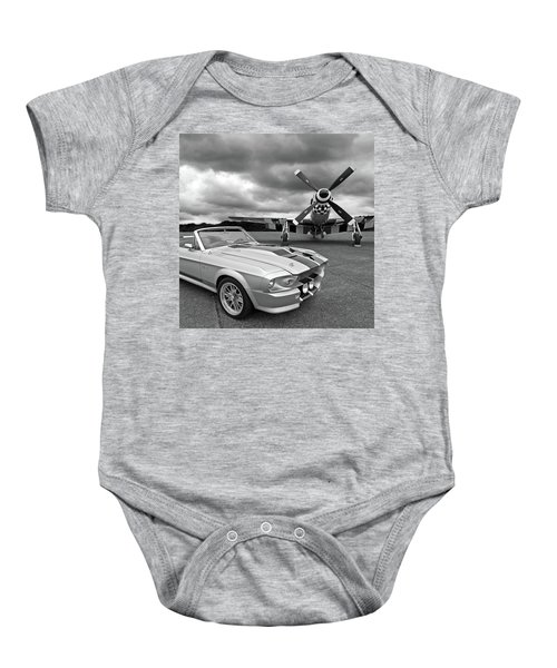 Eleanor Mustang With P51 Black And White Baby Onesie