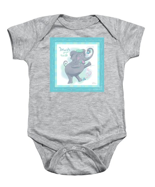 Elephant Bath Time Brush Your Tusk Baby Onesie