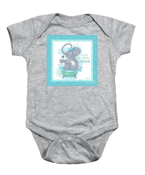 Elephant Bath Time Splish Splash Baby Onesie