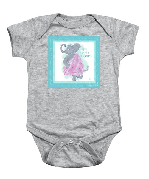 Elephant Bath Time Squeaky Clean Baby Onesie