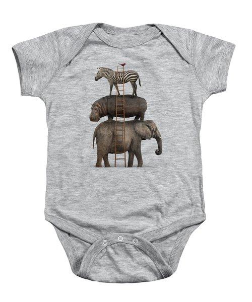 Elephant, Hippo, Zebra Animal Stack With A Cardinal Baby Onesie by Greg Noblin