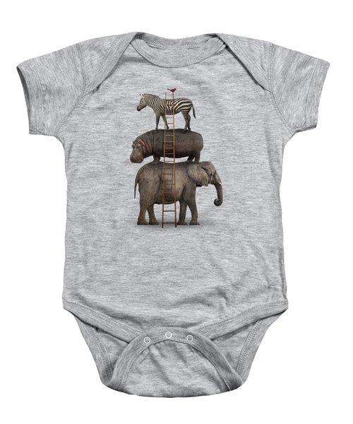 Elephant, Hippo, Zebra Animal Stack With A Cardinal Baby Onesie