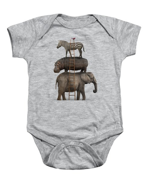 Elephant, Hippo, Zebra Animal Stack With A Cardinal Baby Onesie