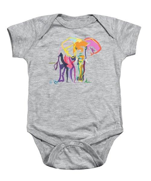 Elephant In Color Ecru Baby Onesie