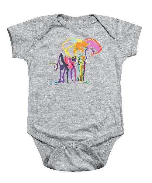 Baby Onesie featuring the painting Elephant In Color Ecru by Go Van Kampen