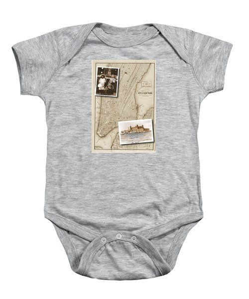 Ellis Island Vintage Map Child Immigrants Baby Onesie