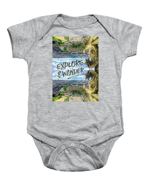 Explore And Wander Notre Dame Cathedral Gargoyle Paris Baby Onesie