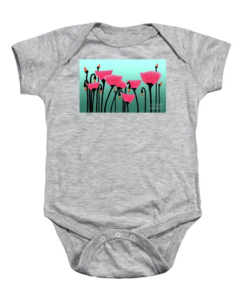 Expressive Red Pink Green Poppy Painting Y1a Baby Onesie