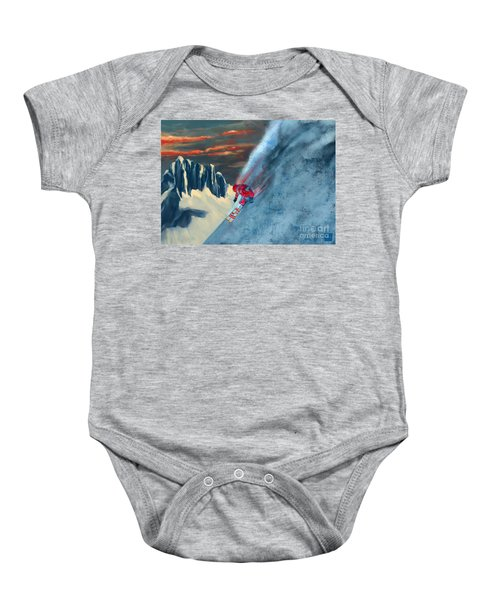 Extreme Ski Painting  Baby Onesie