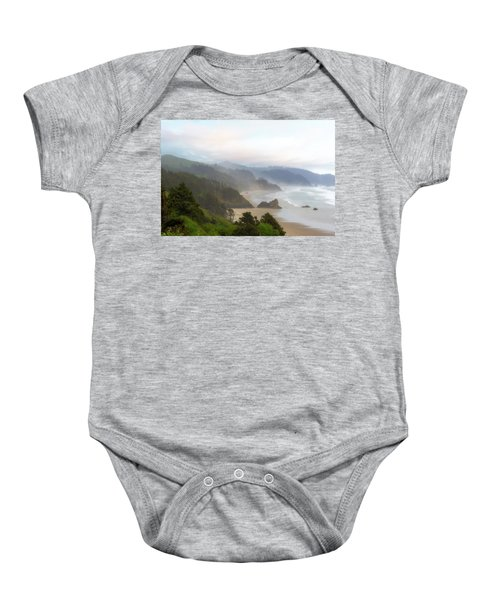 Falcon And Silver Point At Oregon Coast Baby Onesie