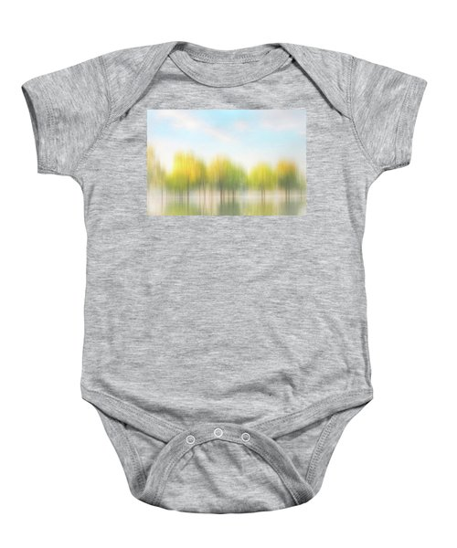 Fall Trees On Flooded Lake Baby Onesie