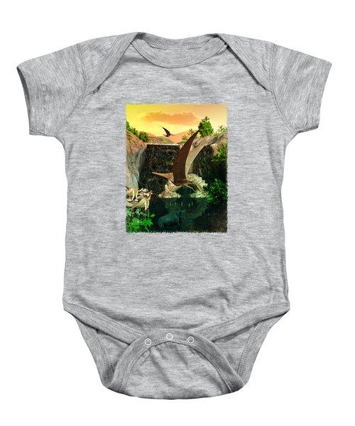 Fantasy Worlds 3d Dinosaur 2 Baby Onesie by Sharon and Renee Lozen