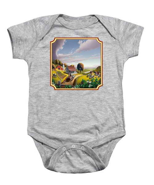 Farm Americana - Farm Decor - Appalachian Blackberry Patch - Square Format - Folk Art Baby Onesie by Walt Curlee