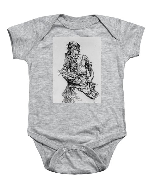 Baby Onesie featuring the drawing Farm Girl by Rod Ismay