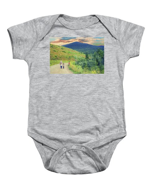 Father And Children Walking Together Baby Onesie