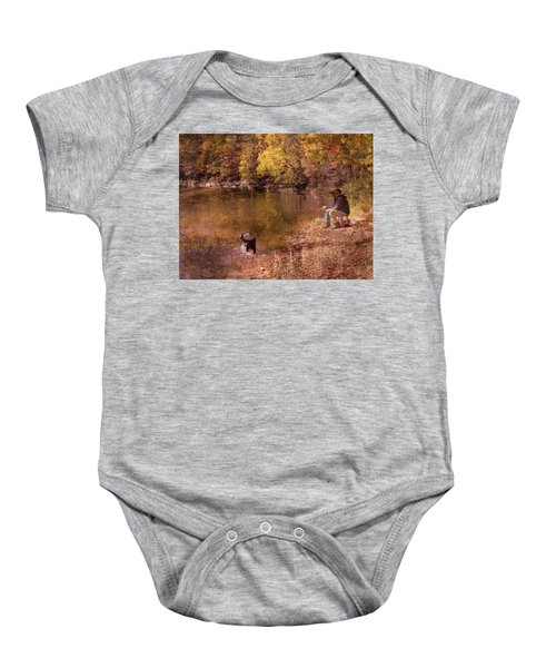 Father,son And Dog Baby Onesie