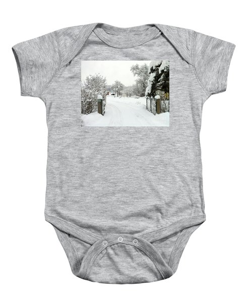 Fence And  Gate In Winter Baby Onesie