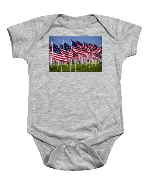 Field Of Flags For Heroes Baby Onesie