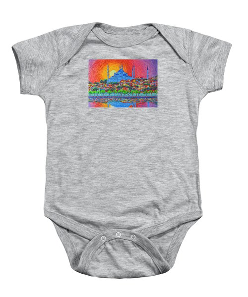 Fiery Sunset Over Blue Mosque Hagia Sophia In Istanbul Turkey Baby Onesie