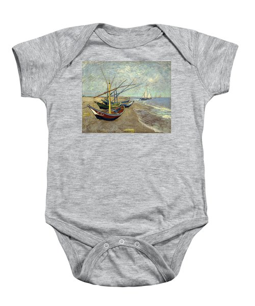 Baby Onesie featuring the painting Fishing Boats On The Beach by Van Gogh