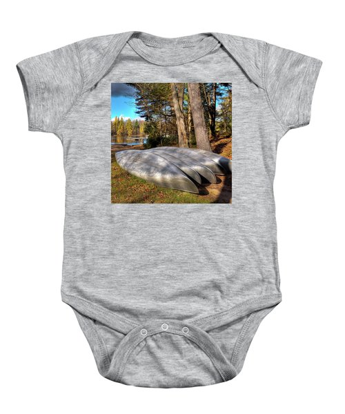 Baby Onesie featuring the photograph Five Canoes At Woodcraft Camp by David Patterson