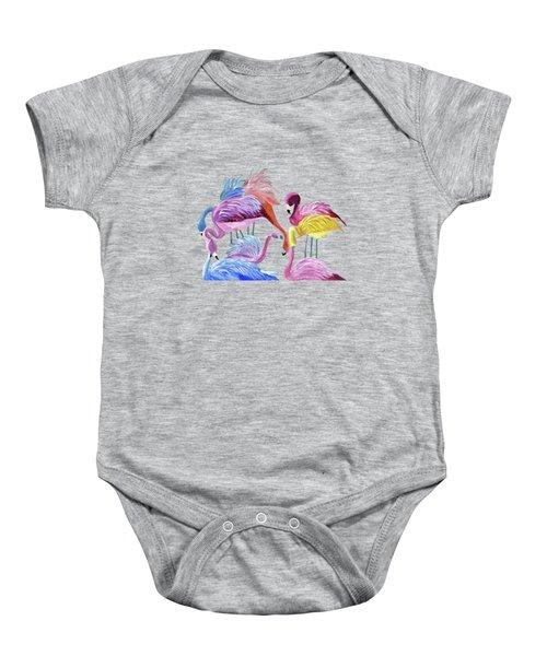 Flamingos In Color Baby Onesie