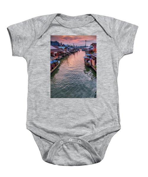 Floating Market Sunset Baby Onesie