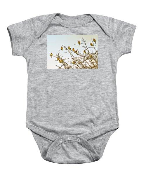 Flock Of Cedar Waxwings  Baby Onesie by Geraldine Scull