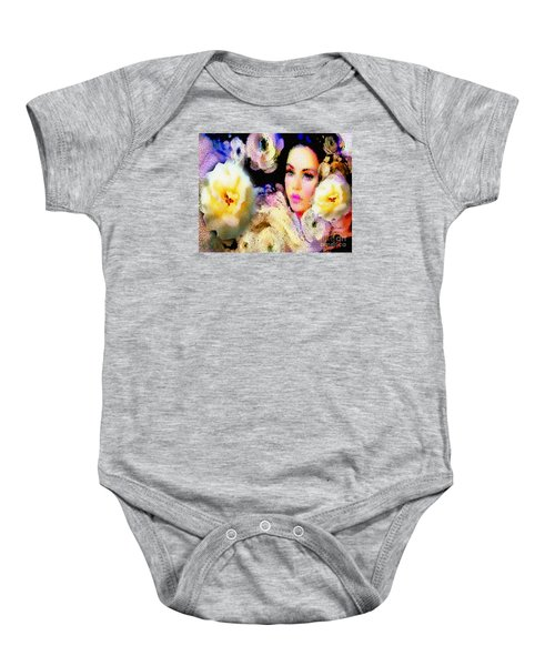 Floral Mosaic She In Thick Paint Baby Onesie