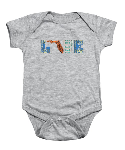 Florida State Love Heart License Plates Art Phrase Baby Onesie