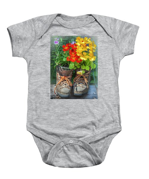 Flower Boots Baby Onesie
