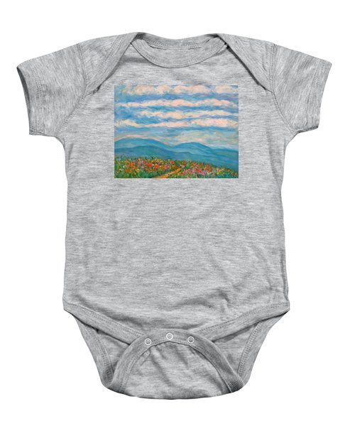 Baby Onesie featuring the painting Flower Path To The Blue Ridge by Kendall Kessler