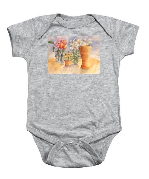 Flowers And Terra Cotta Baby Onesie