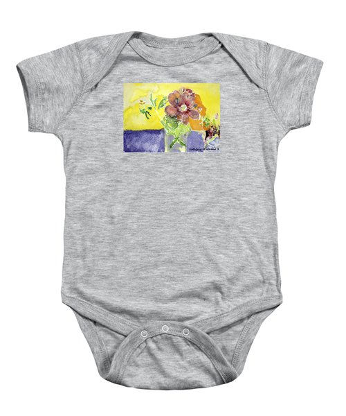 Flowers On A Blue Table Baby Onesie